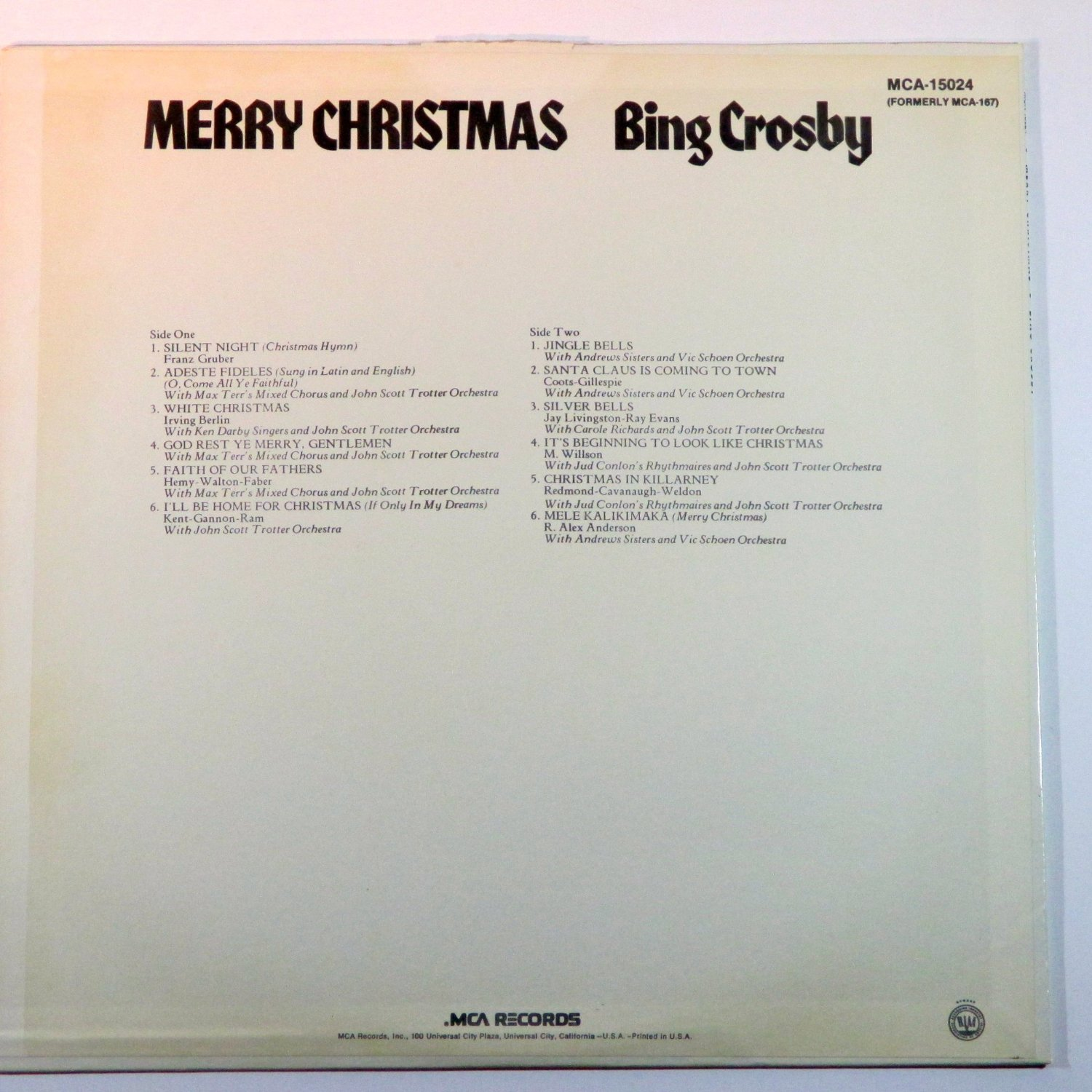 BING CROSBY MERRY CHRISTMAS LP BACK COVER