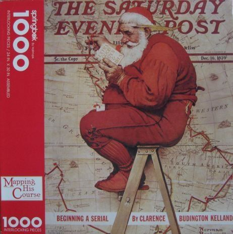 MAPPING HIS COURSE NORMAN ROCKWELL SANTA CLAUS PUZZLE