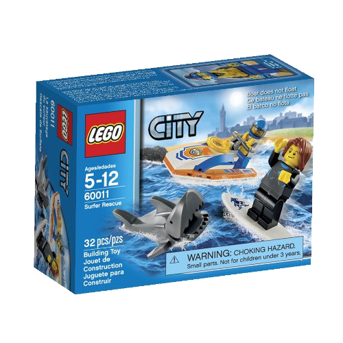Shark Toy Box : Lego shark attack surfer rescue set city