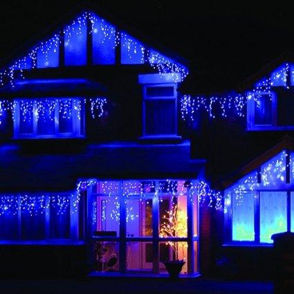 Blue LED Icicle Lights on house