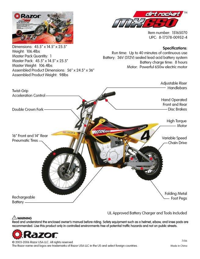 Razor MX650 Electric Dirtbike Specs