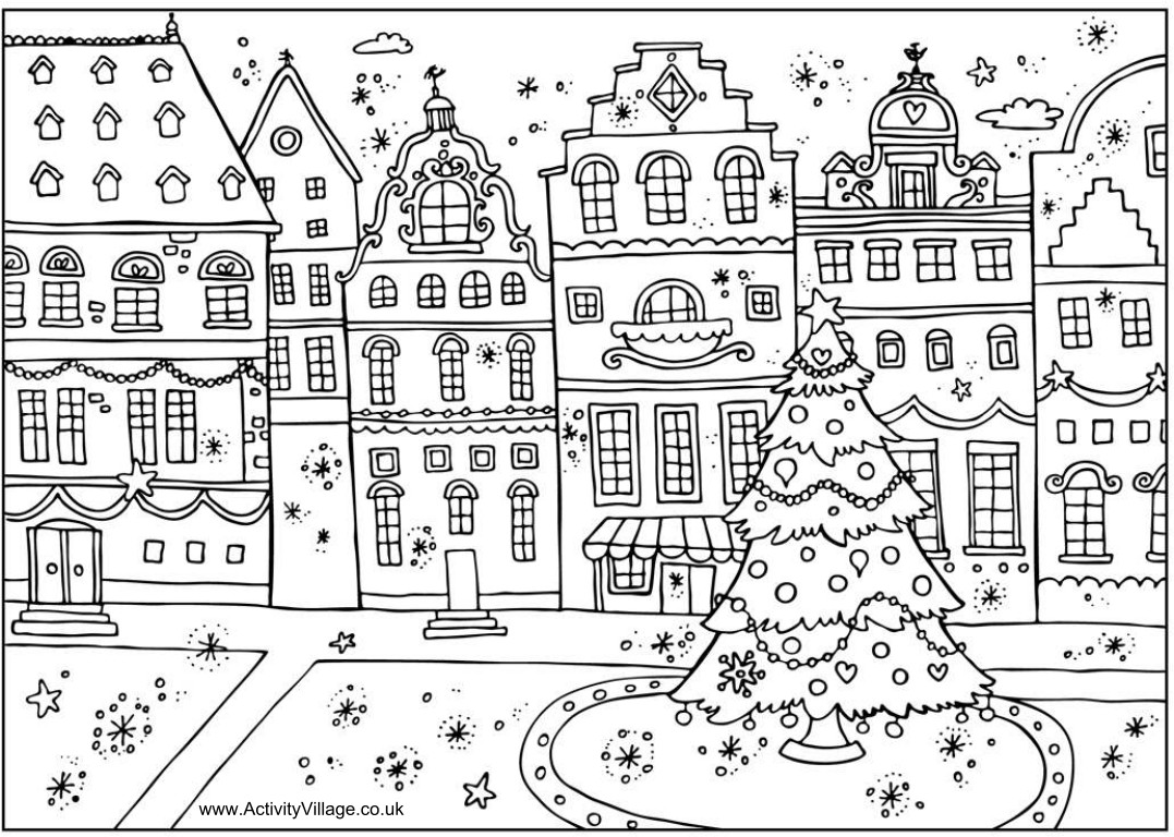 Coloring book pages for christmas - Town Square Christmas