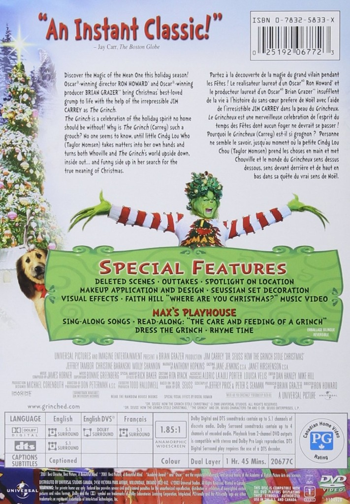 Dr. Seuss' How the Grinch Stole Christmas DVD Back