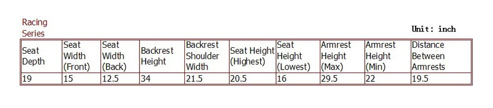 DXRacer Tacing Series Gaming Chair size guide